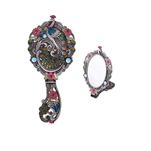 (Moiom Vintage Style Foldable Oval Peacock Pattern Makeup Hand/Table Mirror (Antique Silver) )