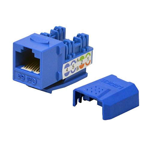 (LOGICO 100 Pack lot Keystone Jack Cat5e Blue Network Ethernet 110 Punchdown 8P8C)