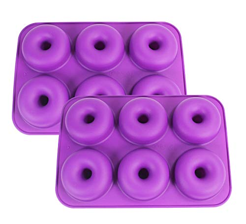 Silicone Donut Molds, 2-Pack Non-Stick Pan - 6 Full Size Doughnuts Shape - BPA Free Tray, Dishwasher/Microwave/Oven/Freezer Safe - Baking Pans and Molds