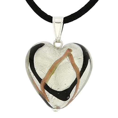 GlassOfVenice Murano Glass Heart Pendant - Black Waves Silver ()