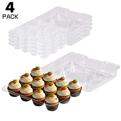 12 Compartment Clear Hinged Plastic Cupcake Container, Take-Out Cupcake Carriers -Pack Of 4-]()