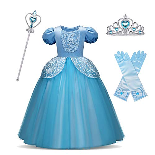 HNXDYY Cinderella Costume Princess Girls Fancy Carnival Party Dress Size(130) 5-6 Years Blue