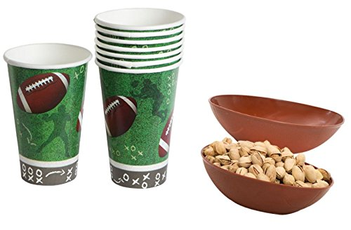 Football Tablecloth Paper Cups Plates Party Supplies Supply Trays NFL Sports Superbowl Game Day Tailgate Bundle of 2 (Nfl Christmas Day Games)