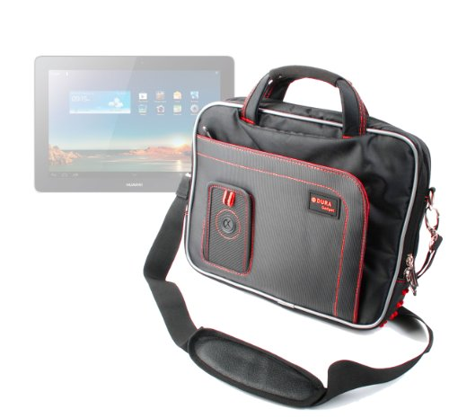 DURAGADGET Black & Red Netbook Carry Case / Briefcase With Multiple Storage Pockets And Shoulder Strap For Huawei MediaPad 10 FHD & DJC TOUCHTAB3 9.7