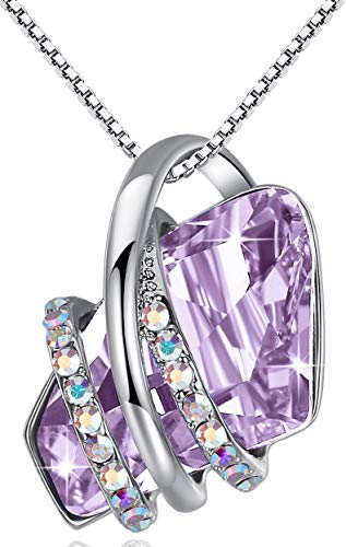 Leafael Wish Stone Pendant Necklace Made with Swarovski Crystals (Light Alexandrite Purple Silver-Tone) Gifts for Women June Birthstone Jewelry