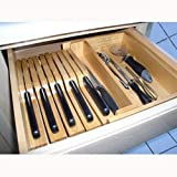 Axis 147 Manhattan Steak Knife Storage Drawer Organizer, Natural Wood
