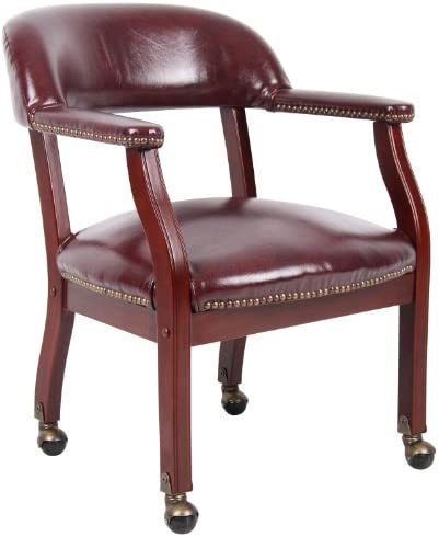 Boss Captain s Chair In Burgundy Vinyl W/ Caster