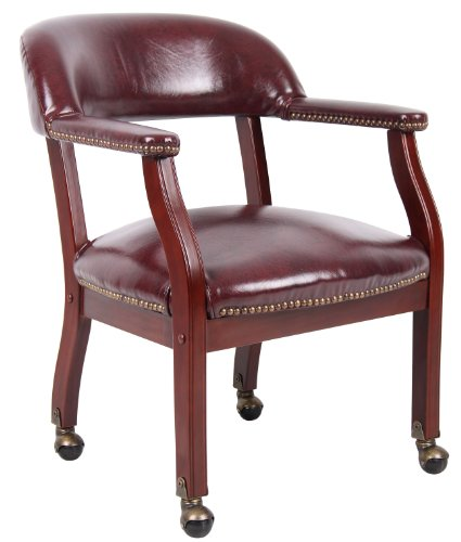Burgundy Office Chairs - Boss Captain's Chair In Burgundy Vinyl W/ Casters