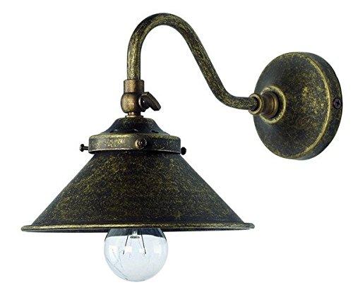 Applique lampada da parete in ottone brunito parabola cono interno