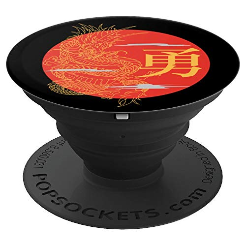 Japanese Dragon Rising Sun Japan Kanji Calligraphy Courage PopSockets Grip and Stand for Phones and Tablets