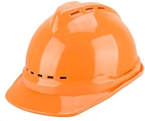 Simlug 建築現場のための安全ヘルメット、厚いまっすぐなABS通気性のヘルメットの頭部の保護(オレンジ)