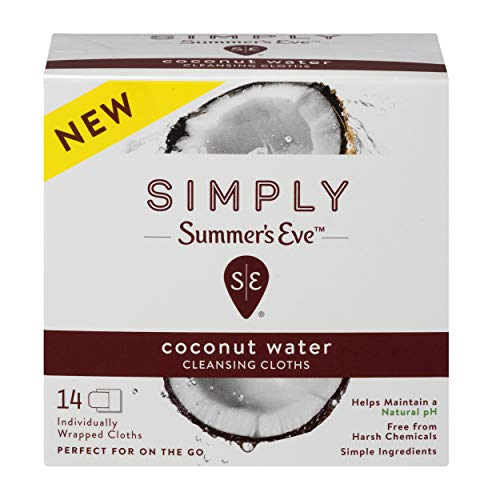 - Summer's Eve Simply Cloths   Coconut Water  14 Count   Pack of 1   pH Balanced, Free from Harsh Chemicals and Dyes