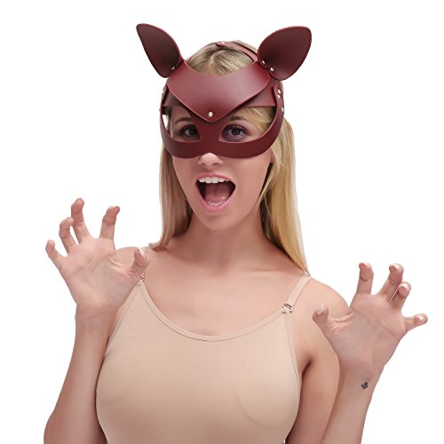 HOT TIME Leather Rhinestone Masquerade Cat Ears Handwork Mask for Cosplay Costume (Wine-Half face mask)