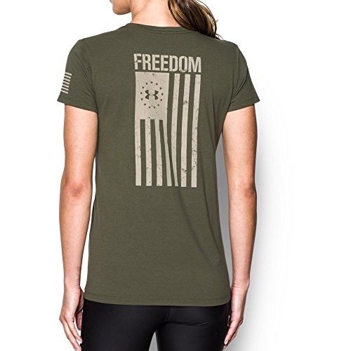 Under Armour Women's Freedom Flag T-Shirt,Marine Od Green/Desert Sand, Medium