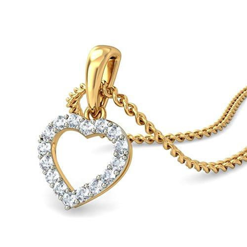 14K Or jaune 0,16CT TW Round-cut-diamond (IJ | SI) Pendentif