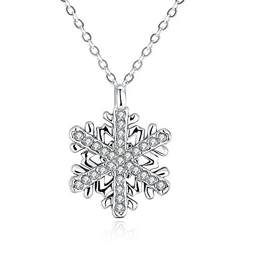 Crystal Necklace Mom (Silver White Snowflake Pendant Necklace with Clear Crystals Christmas Gifts for Mom Women Teen Girls)