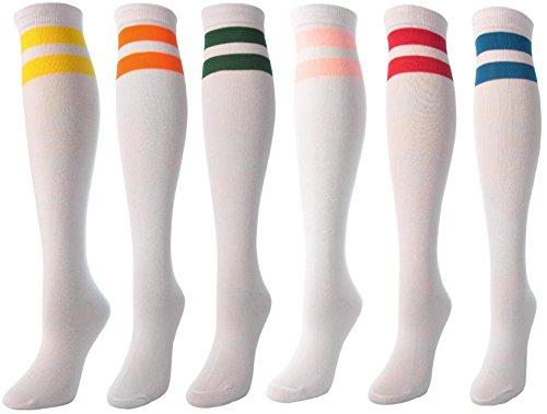 J.Ann 6 Pc / Pk Ladies White w. 2 Color Stripes Knitted Knee-High Socks