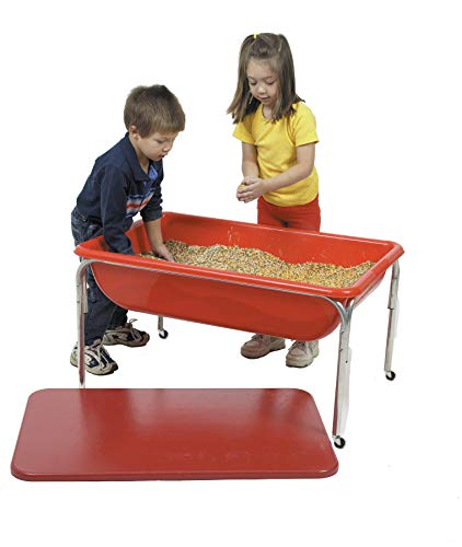 Children's Factory Large Sensory Table & Lid Set for Kids in Red (36 x 24 x 24 in) ()
