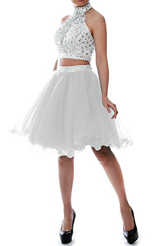 MACloth Women Two Piece Halter Tulle Short Prom Dress Hom...