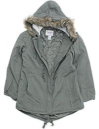 Juniors Faux Fur Hooded Parka Jacket