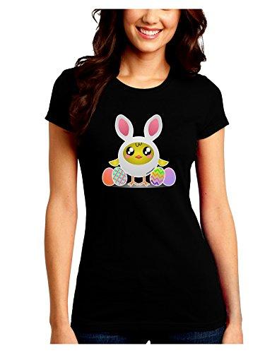 Junior Bunny Costumes (TooLoud Chick In Bunny Costume Juniors Petite Crew Dark T-Shirt - Black - XL)