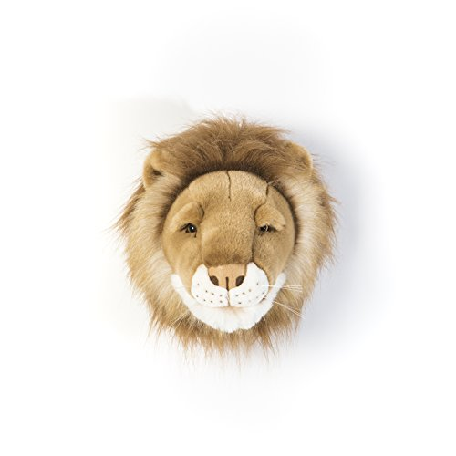 (Wild & Soft Lion Shaped Trophy Head - César, 11.81 '' Height x 13.78 '' Width x 9.84 '' Depth, Handmade Stuffed Plush Toy as a Wall Decoration in Children Rooms)