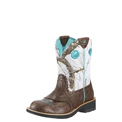 Ariat Women's Fatbaby Cowgirl Western Cowboy Boot, Brown Crinkle/Snowflake, 9 M US