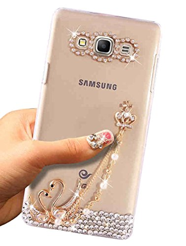 Samsung Grand Prime Case,ZHFLY Bling Handmade Rhinstone Back Cover Crytal Clear Soft TPU Silicone Case for Samsung Galaxy Grand Prime,SM-G530H,SM-G530…