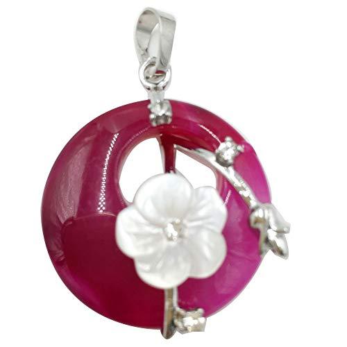 Jewelry58718 Fashion Round Flower Shell Rose Onyx Agate Pendant Bead