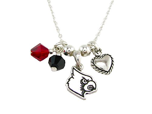 Sports Accessory Store Louisville Cardinals Red Black Austrian Crystal Heart Silver Chain Necklace UL (Necklace Sport Crystal)