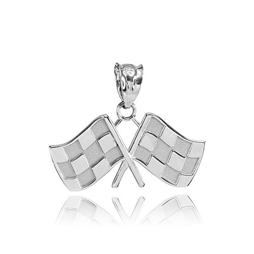 10k White Gold Racing Flags Charm Pendant ()