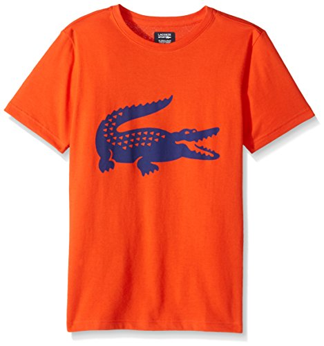 Lacoste Big Boys' Sport Croc Graphic T, Mexico Red/Ocean, 12