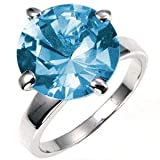 Big Stone Ring - Aquamarine Blue CZ, 10