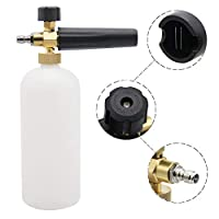 "PEGGAS Foam Cannon Snow Foam Lance Pressure Washer - Jet Wash - Quick Release Adjustable 1/4"" Fitting Male Quick Connect - 1 Liter Bottle"