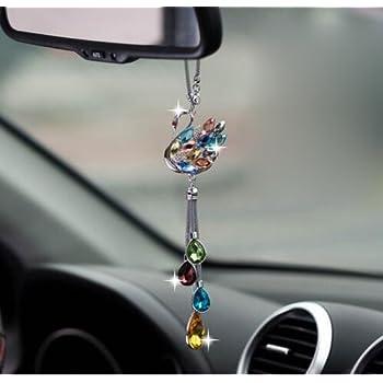 car hanging ornament crystal swan car hanging decorations car rearview mirror. Black Bedroom Furniture Sets. Home Design Ideas