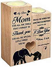 FRJHBS to My Mom Candle Holder, Heart Shaped Craft Wooden Candlestick Holders for Daughter to Mother Birthday Gift
