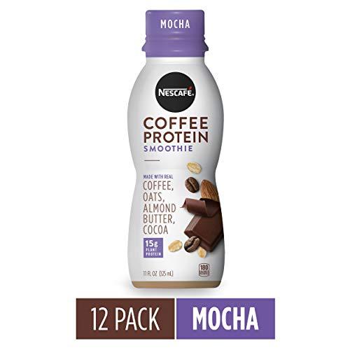NESCAFÉ Coffee Protein Smoothie, Mocha, 11 FL OZ, 12 Bottles | Plant-Based Protein | Non-Dairy | Arabica Coffee