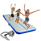 ChampionPlus 10ft/13ft/16ft/20ft/23ft/26ft Inflatable Gymnastics Air Track Tumbling Mat 4/8 inches Thickness Airtrack Mats for Home Use/Training/Cheerleading/Yoga/Water with Pump