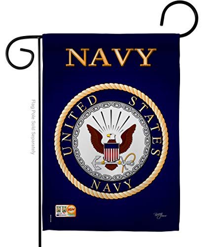 """Breeze Decor G158058 Navy Americana Military Impressions Decorative Vertical Garden Flag 13"""" x 18.5"""" Printed in USA Multi-Color"""