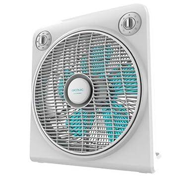 Motor de Cobre Blanco con regilla Rotatoria 3 velocidades 50W Temporizador de 2h Cecotec Ventilador de Suelo ForceSilence 6000 PowerBox 5 aspas Pl/ástico