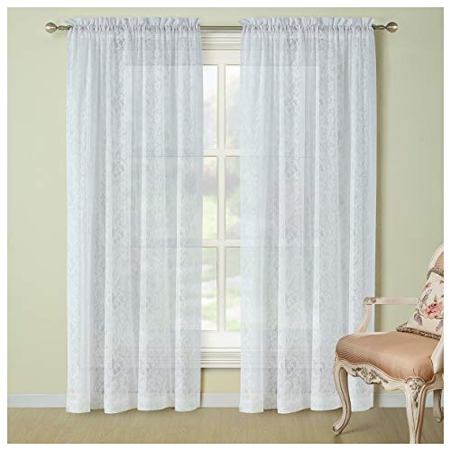DS BATH Sunflower Lace Window Curtain,Rod Pocket Knitting Curtains,Floral Panels for Living Room,Solid Translucent Panels for Bedroom,2pcs Panel:Each 54