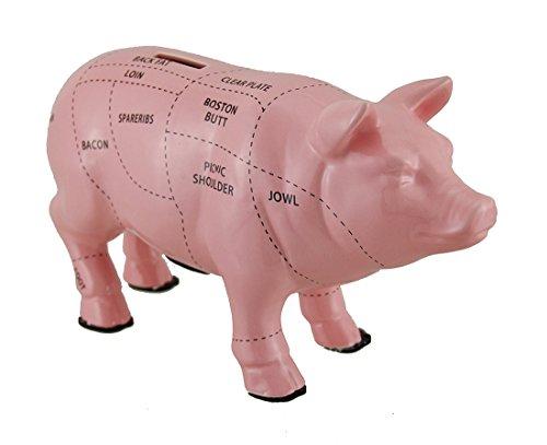 Zeckos Pink Ceramic Pig Shaped Coin Bank Butcher Chart Piggy Bank