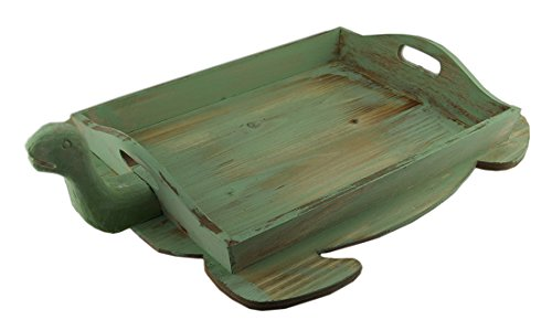 Wood Decorative Trays Green Distressed Finish Decorative Wooden Sea Turtle Tray 22 Inch 22.5 X 4.5 X 16.5 Inches Lime (Turtle Ottoman)