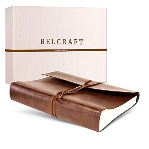 Tivoli Large Recycled Leather Photo Album, Handmade Classic Italian Style, Including Special Box, A4 (23x30 cm) Tan by Belcraft