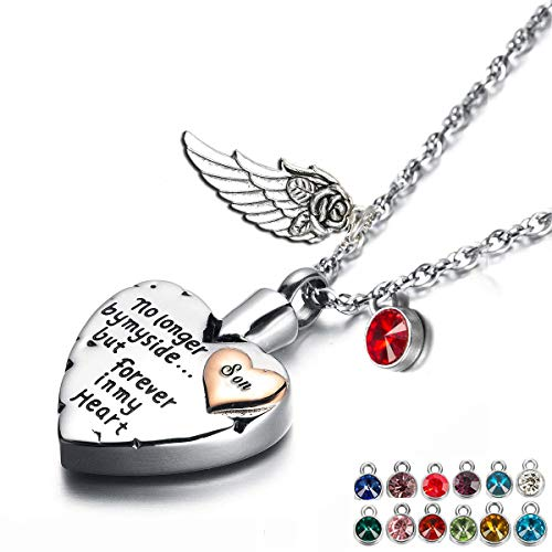 PREKIAR Heart Cremation Urn Necklace for Ashes Angel Wing Jewelry Memorial Pendant and 12 PCS Birthstones No Longer by My Side But Forever in My Heart (Son)