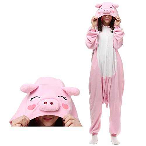 ElfZ Adult Animal Onesie Pajamas Cosplay Costume Unisex One Piece Pajamas (Medium/Large, Pig) ()