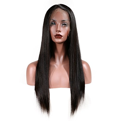 KeLang Brazilian Virgin Human Hair Lace Front Wigs for Black Women Long Straight Pre Plucked Glueless Human Hair Wigs With Baby Hair And Bleached knots 130% Density Natural Black color (Lace Front 16) by KeLang (Image #5)