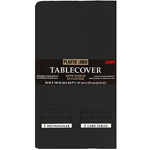 JAM PAPER Rectangular Paper Table Cover with Plastic Lining - 54 x 108 Inches - Black - 1 Tablecloth/Pack