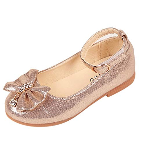 - Girl's Sandals Toddler Kids Girls Ballet Mary Jane Flat Shoes Bowknot Crystal Dance Shallow Single Shoes Gold