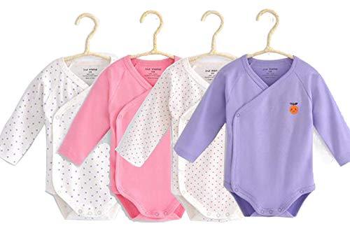 Long Sleeves Kimono Onsies Cotton Baby Side-snap Bodysuit Pack of Cardigan Onsies for Infants (9-12M) ()